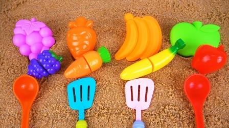 趣味挖沙游戏 香蕉 葡萄 苹果 胡萝卜沙滩玩具
