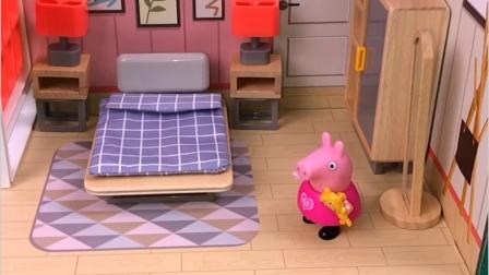出现三个乔治,猪爸爸一下就认出真乔治,剩下两个是玩具