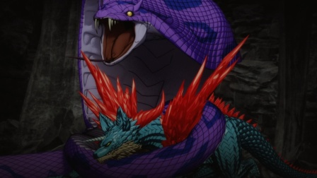 最强地龙与霸王蛇决战,小蜘蛛只能躲在一边偷偷观战!