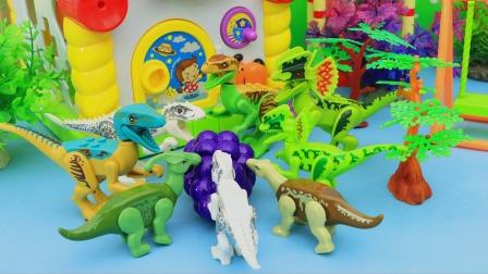 恐龙们找到一串葡萄 它们吃得很开心