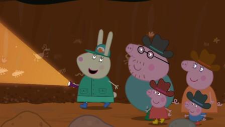 小猪佩奇一家去美国峡谷山洞探险看古代壁画 定格动画简笔画