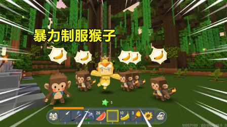 迷你世界:雨林生存4!早早不走寻常路 ,和猴子硬刚把它们都驯服