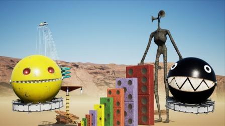我的世界MC动画:机械吃豆人VS黑色锁链吃豆人