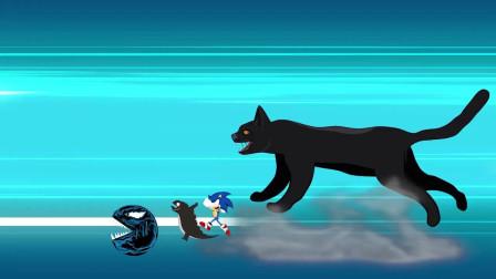 哥斯拉音速人和吃豆人,被变异黑猫欺负 动漫特效