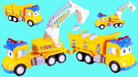 百变校巴工程车解决石头堵住道路问题的儿童玩具故事