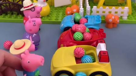 乔治太爱吃糖了,小猪们都用小汽车装糖,只有乔治要用大汽车装