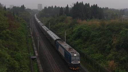 HXD3C0523武局南段K529杭州-成都东通过达成线营山段(K63+920m)处高跨线桥17:28