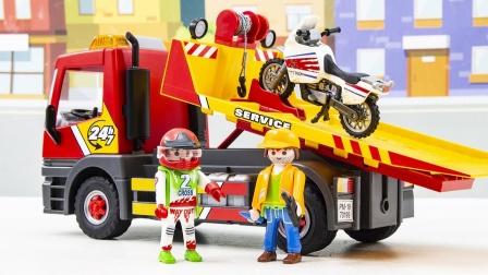 汽车玩具故事:车辆在道路上损坏无法行驶,需要哪辆工程车救援?