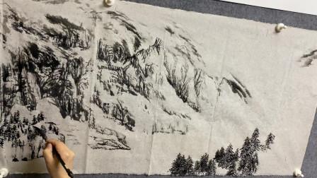 一幅国画山水的起稿,布局,定型。山水画学习爱好者不可错过!