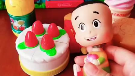 大头要吃蛋糕,蛋糕说不要吃他呀,他会变身的