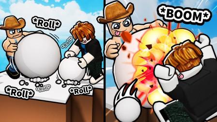 ROBLOX滚雪球大战:堆超大雪球把人撞飞!面面解说