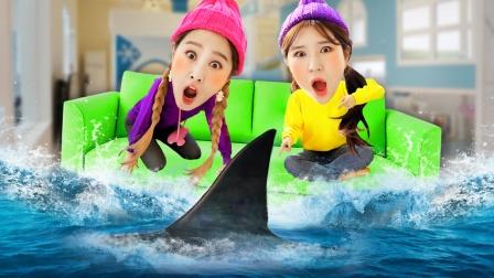 基尼家变成水族馆了!鲨鱼来了快逃跑