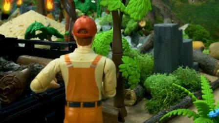 森林着火了 消防队赶来救援