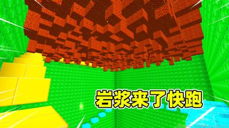 迷你世界:小蕾只有1滴血,还遇到了岩浆雨,结果5秒就跑完?