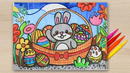 儿童画涂鸦手绘,复活节的礼物,小兔子彩蛋