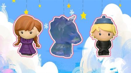冰雪奇缘:奇趣蛋拆出安娜公主克里斯托夫冰马玩偶