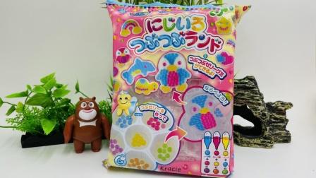 识颜色啦,熊出没玩日本调色食玩!漂亮的彩虹糖果!
