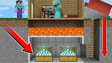 我的世界:史蒂夫藏在岩浆下面的钻石,最终逃不过阿呆的贼手!