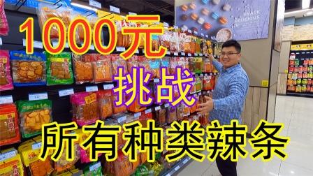 1000块钱挑战买全超市里所有种类辣条,这次能成功吗?
