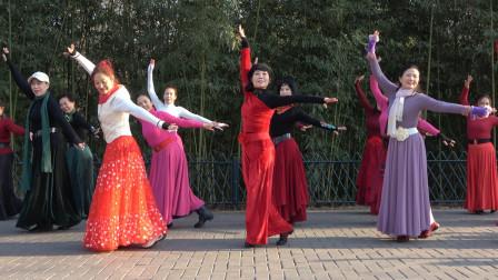 广场舞《吉祥藏历年》杜老师领舞,歌醉舞美人更美