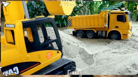 挖掘机推土机铲车在工地模拟施工 趣味益智
