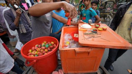 """天热了印度""""冰激凌棒棒糖""""开始上场,1块1根,游客:舒爽!"""