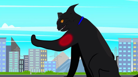 哥斯拉激战金刚,大黑猫跑来捣乱被揍 动漫特效