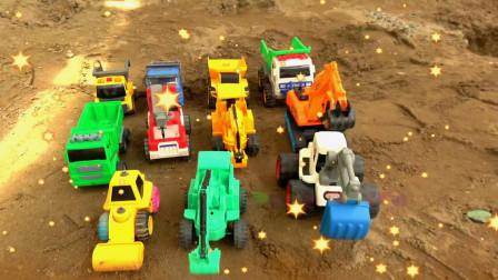 汽车工程车和挖掘机填坑,宝宝早教游戏视频