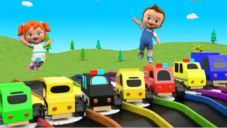 196小女孩的玩具小车 识消防车垃圾车等 育儿早教启蒙益智
