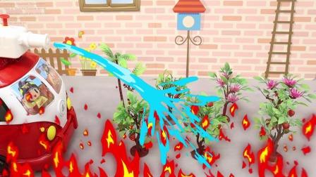 艾克斯奥特曼灭火打怪兽,变形喷水消防车