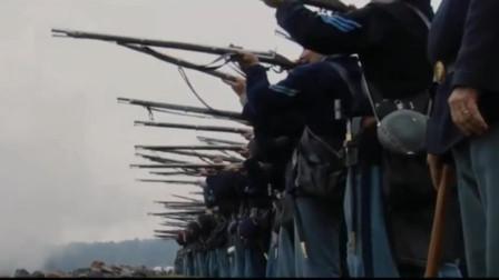 南北战争,南军士兵排队,迎着炮火冲锋