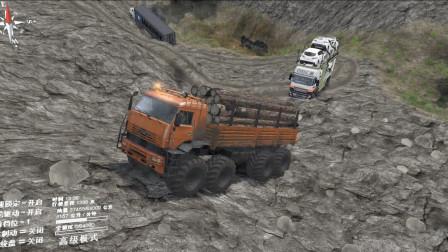 旋转轮胎:大卡车不走山路,而是在峭壁上行驶,驱动太强大了!