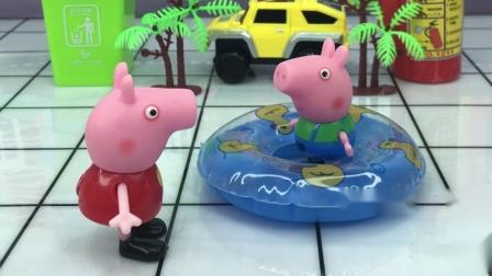 乔治想要游泳,结果被佩奇制止了