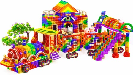 DIY巴克球玩具帮助小猪佩奇拼搭小火车模型