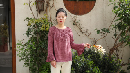毛儿手作【第M510期】棒针编织日光棉溶月圆领育克女士毛衣视频教程