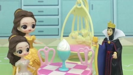王后给小贝尔吃冰淇淋,贝尔看见了不让吃,说吃了会肚子疼的
