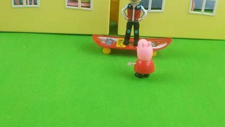 乔治掉水池里了,佩奇来找来德帮忙
