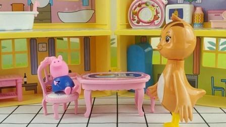 乔治去找朵朵玩,还吃了鸡妈妈做的汉堡
