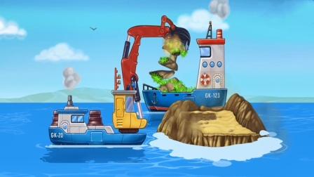 宝宝模拟造船儿童游戏,组装一辆挖泥船