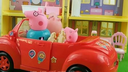 猪爸爸带佩奇他们出去玩,乔治没有上车,猪爸爸就开车走了
