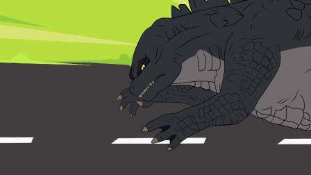 哥斯拉被蝙蝠咬伤变色,失去理智攻击金刚 动漫特效