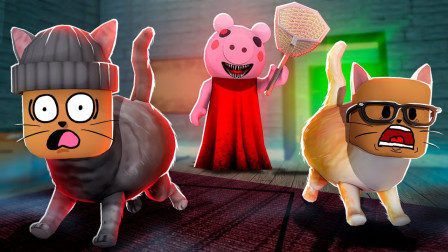ROBLOX抓猫模拟器:在佩佩猪的房间里躲避猎人抓捕!面面解说