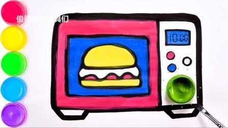 学习为儿童绘制微波炉并为其上色