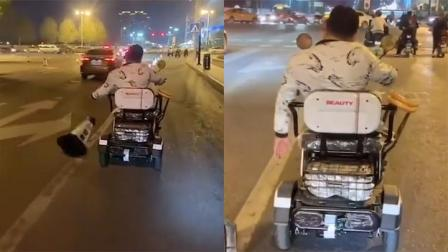 男子驾驶电三轮车接连推倒交通隔离墩 警方:推倒200多个 已处罚