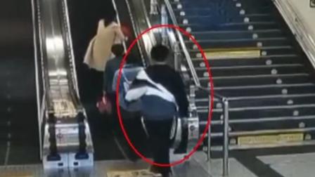济南地铁猥琐男扶梯吻女子大腿,警方:行拘10日