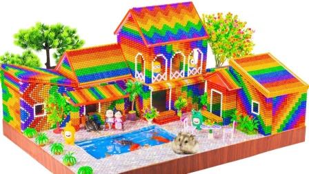 如何搭建一座漂亮的别墅建筑玩具