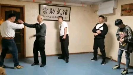 意拳姚承光老师教授单推手膝法发力(邯郸意拳赵志勇)