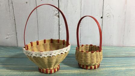 创意纸藤手工教程——纸藤做水果篮教程