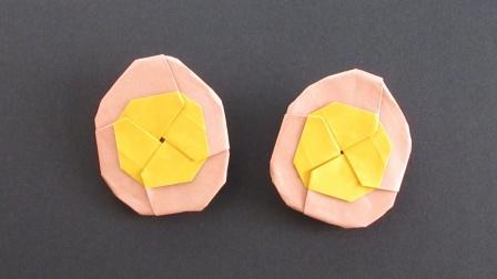 教你折纸半颗卤蛋,简单有意思的折纸作品!