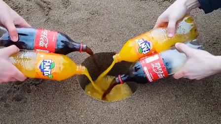 可乐加泡腾片VS可乐加岩浆,谁更胜一筹,场面太壮观了!